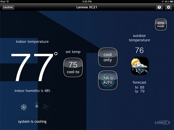 icomfort WiFi Thermostat-Home Screen-Cooling