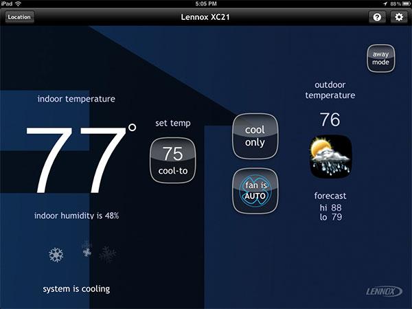 lennox smart thermostat. icomfort wifi thermostat-home screen-cooling lennox smart thermostat e