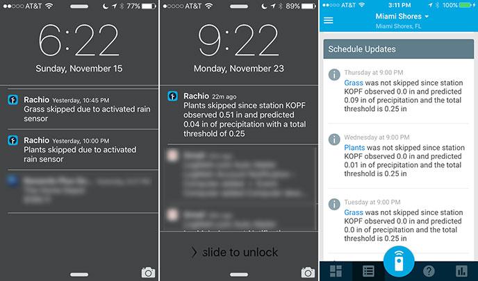 Rachio Iro WiFi Sprinker-Controller Delay iOS